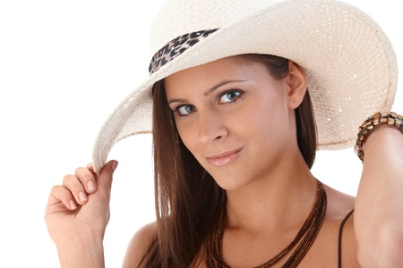 Closeup portrait of attractive woman in hat. photo