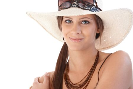 Portrait of smiling woman in hat at summertime. Stock Photo - 12652654