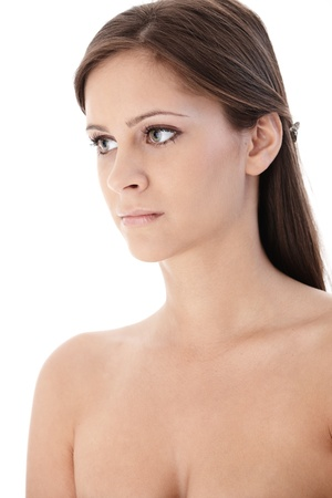 Portrait of topless young woman, looking away. Stock Photo - 12652693