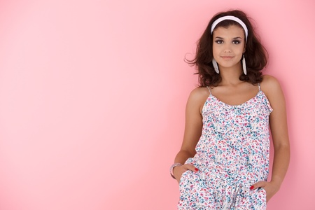 summer dress: Teenage girl smiling at summertime. Stock Photo