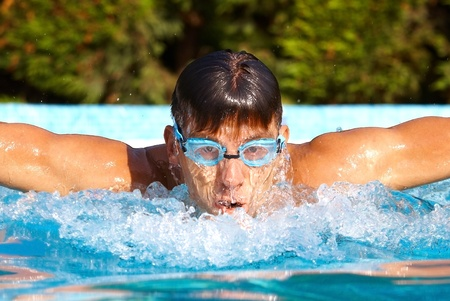 american butterflies: Young male swimmer in swimming pool at summertime, butterfly stroke.