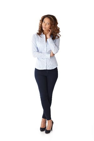Full size portrait of pretty casual woman over white background. Stock Photo - 13061129