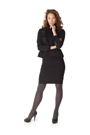Full size portrait of attractive businesswoman over white background. photo