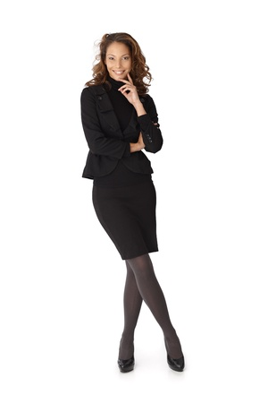 Full length portrait of happy confident businesswoman over white background. photo