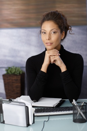 female elbow: Portrait of attractive businesswoman sitting at desk in office.