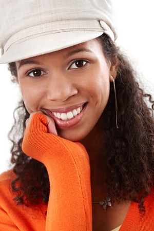 Closeup portrait of smiling afro-american pretty woman. Stock Photo - 13071180