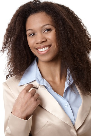 Closeup portrait of attractive afro-american businesswoman smiling. Stock Photo - 13070355