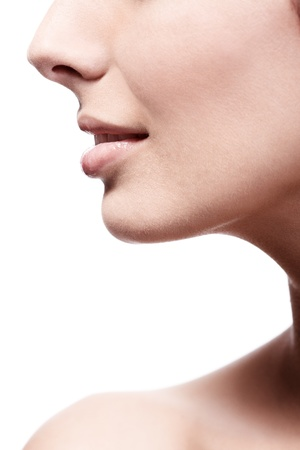 20s  closeup: Closeup photo of young females nose and lips, profile. Stock Photo