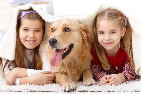lying in front: Little sisters lying on floor with dog, having fun under blanket, smiling. Stock Photo