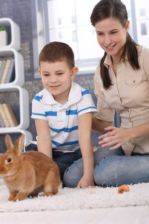 Mum and son having fun with pet rabbit at home, playing on living room carpet. photo