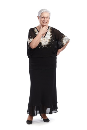 evening gown: Elegant old lady in black and white evening gown, smiling   65533;