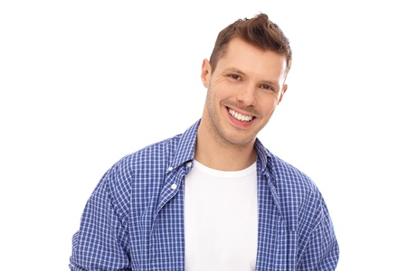 Portrait of happy young man in blue shirt. Stock Photo - 13964698