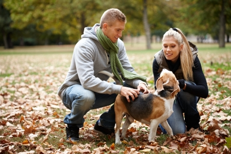 Young couple stroking dog in autumn park, smiling.