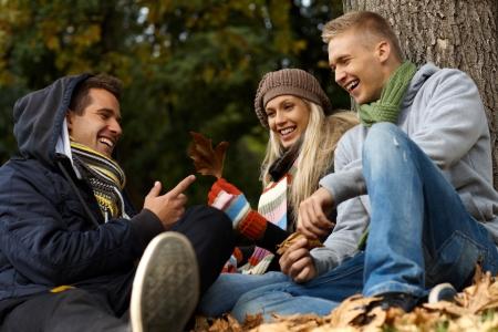 compa�erismo: Compa��a joven feliz sentado, hablando en el Parque de oto�o. Foto de archivo