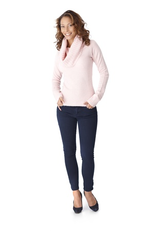 Full size photo of happy casual woman, smiling, hands in pocket. photo