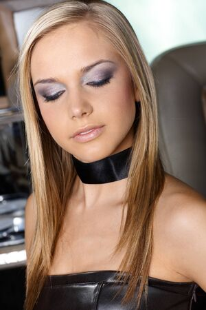 Blond girl with evening make up. photo