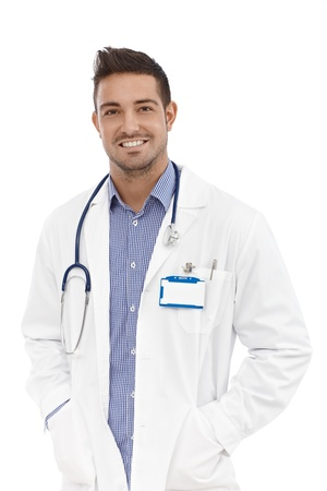 Portrait of confident young happy male doctor. photo