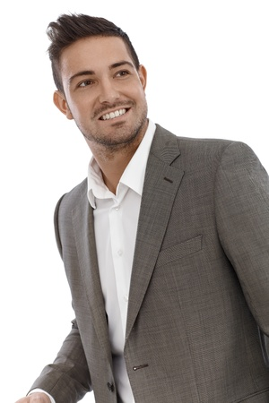formal shirt: Portrait of happy young businessman. Stock Photo