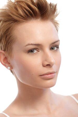 gingerish: Closeup portrait of short hair gingerish woman. Stock Photo
