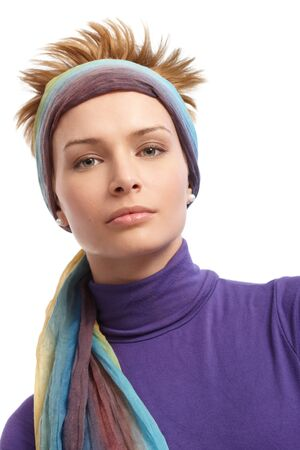 hairband: Closeup portrait of modern girl with trendy hair and hairband.