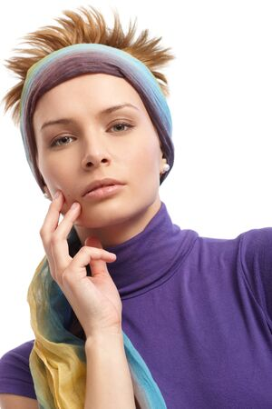 gingerish: Closeup portrait of trendy woman with hairband.