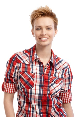 gingerish: Portrait of young attractive gingerish woman with short hair. Stock Photo