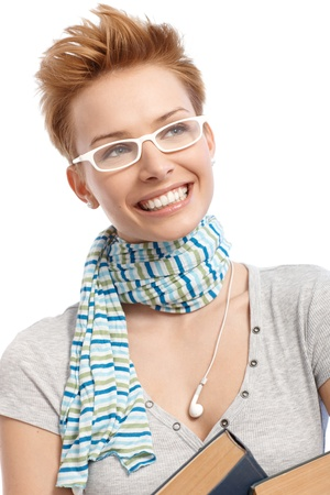 gingerish: Closeup portrait of young gingerish short hair woman in white frame glasses smiling happy.
