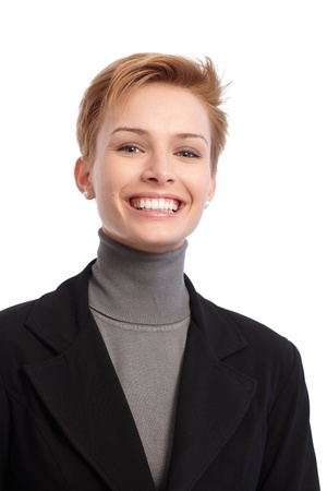 woman short hair: Closeup portrait of young businesswoman smiling happy. Stock Photo