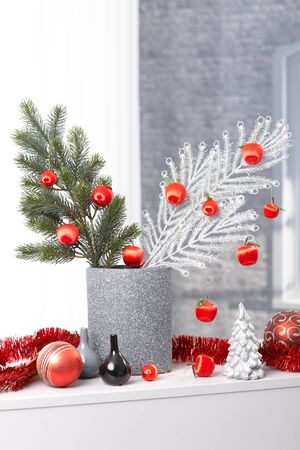 Modern christmas design, stylish decoration with tree branch, bulb and garland, in green white red and silver. photo