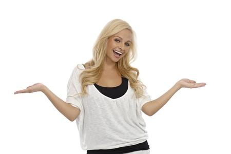 outspreading: Happy blonde woman laughing, holding arms wide open.