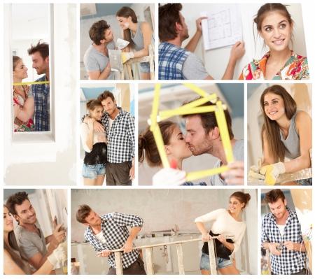 zelf doen: Doe het zelf, gelukkig jong paar werken het bouwen van nieuwe huis. Beeldmozaïek.