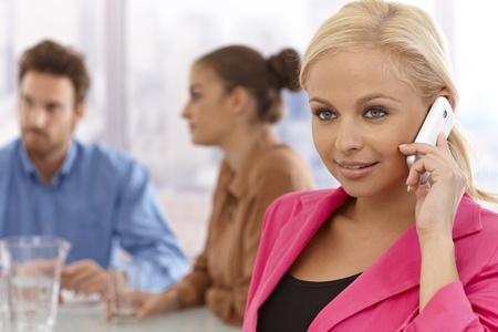Beautiful young businesswoman talking on mobilephone at a meeting. Stock Photo - 17134035