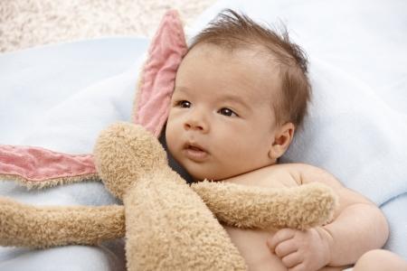 Adorable newborn baby with plush bunny. Stock Photo - 17159649