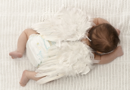 Tiny baby lying on front, wearing white feather angel wings. photo
