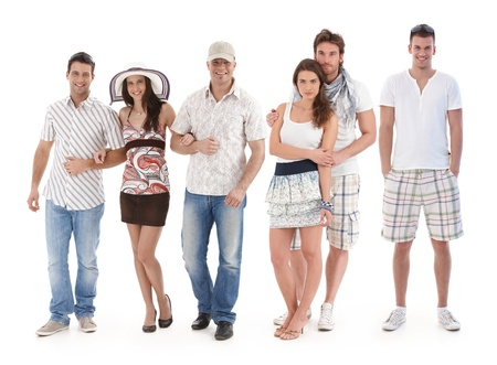 Group portrait of happy young people dressed for summer. photo