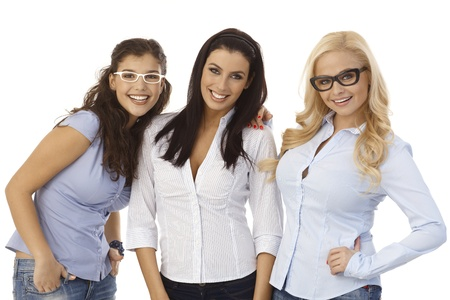Attractive female friends smiling, wearing glasses.