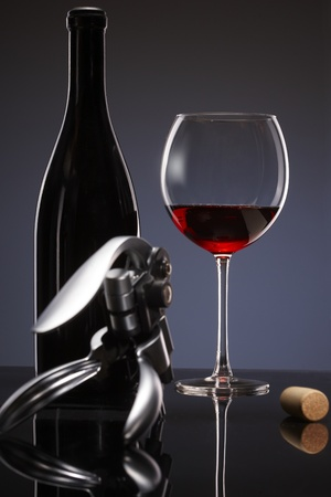 Elegant photo of a glass of red wine on dark background. photo