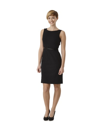 eye wear: Full length portrait of attractive woman wearing black cocktail dress, isolated on white