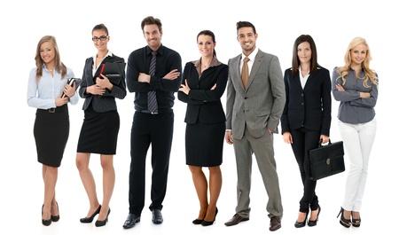 成功した若い実業家をすべてハッピー笑顔、白い背景の上のチームの写真。