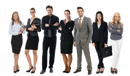 Photo d'équipe de la réussite des jeunes gens d'affaires sur fond blanc, tout sourire heureux. Banque d'images