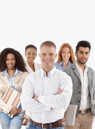 vertical image: Portrait of successful young businessteam smiling over white background.