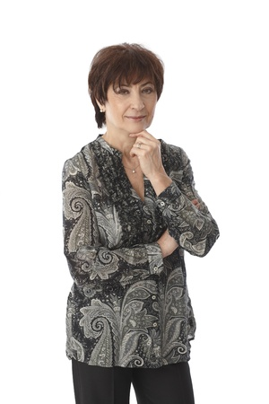 Portrait of mature woman over white background. photo