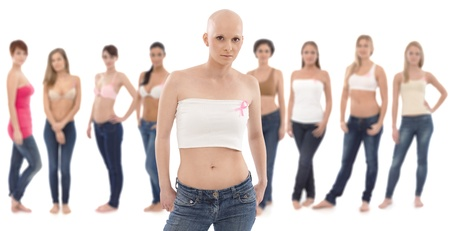 Young hairless woman in underwear wearing pink breast cancer awereness ribbon.   This is a free image, part of a charity project. Models and the staff worked for free to support breast cancer awereness campaigns worldwide.
