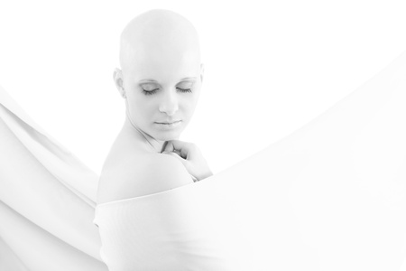 Portrait of young hairless woman.   This is a free image, part of a charity project. Models and the staff worked for free to support breast cancer awereness campaigns worldwide.