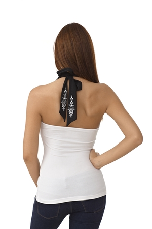 woman back view: Back view of pretty woman in sexy top, bare shoulders.