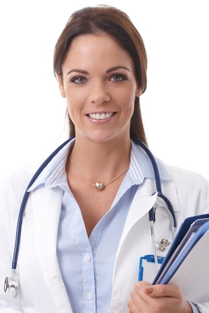 Closeup portrait of happy smiling female doctor looking at camera. photo