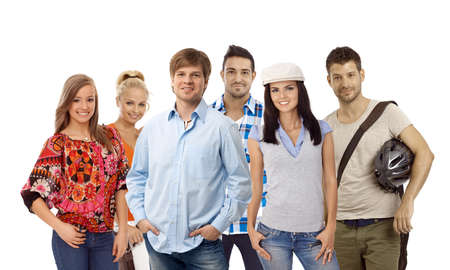 Group of casual young smiling people isolated on white. Stock Photo - 23413679