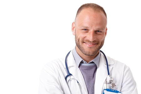 Closeup portrait of handsome young doctor smiling happy, looking at camera. photo