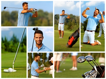 golfers: Image mosaic of golfing with handsome young golfer on golf course.