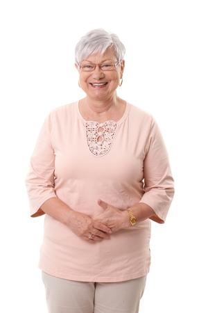 Retrato de mulher madura feliz, sorrindo, olhando a c Imagens